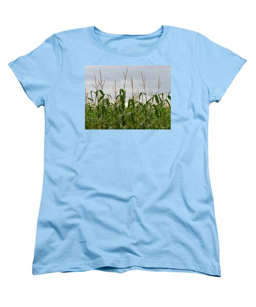 Women's T-Shirt (Standard Cut) featuring the photograph Corn Field by Laurel Powell