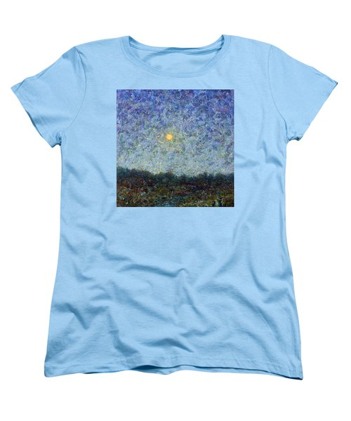 Women's T-Shirt (Standard Cut) featuring the painting Cornbread Moon - Square by James W Johnson