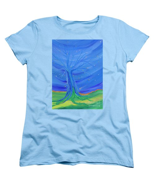 Women's T-Shirt (Standard Cut) featuring the painting Cosmic Tree by First Star Art