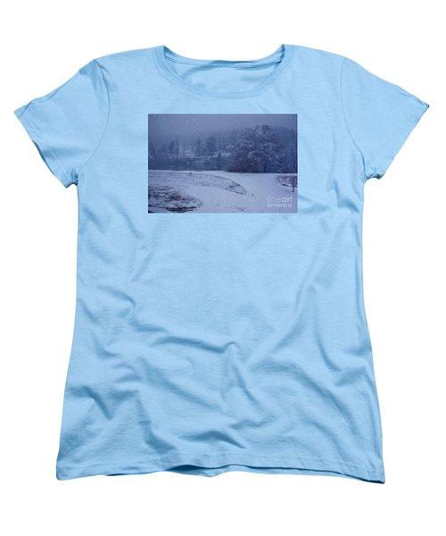 Women's T-Shirt (Standard Cut) featuring the photograph Country Snowstorm Landscape Art Prints by Valerie Garner