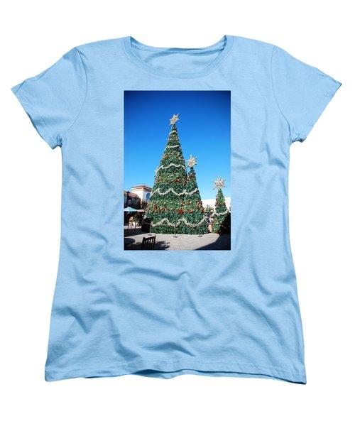 Courtyard Christmas Women's T-Shirt (Standard Cut) by Beverly Stapleton