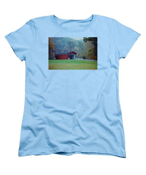 Women's T-Shirt (Standard Cut) featuring the photograph Covered Bridge by Diane Alexander