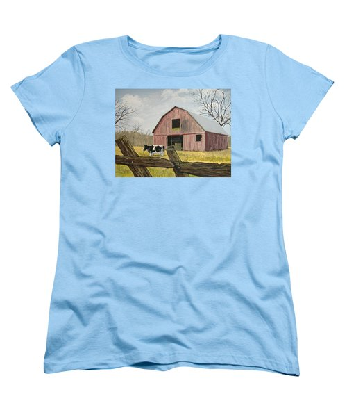 Women's T-Shirt (Standard Cut) featuring the painting Cow And Barn by Norm Starks