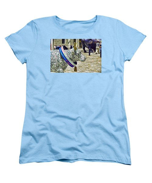 Cow Parade N Y C  2000 - Live Stock Cow Women's T-Shirt (Standard Cut) by Allen Beatty