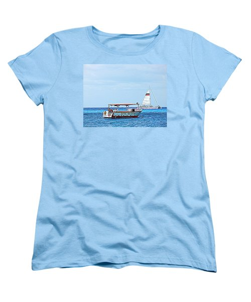 Women's T-Shirt (Standard Cut) featuring the photograph Cozumel Excursion Boats by Debra Martz