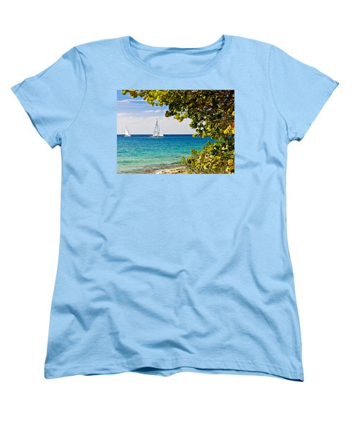 Women's T-Shirt (Standard Cut) featuring the photograph Cozumel Sailboats by Mitchell R Grosky