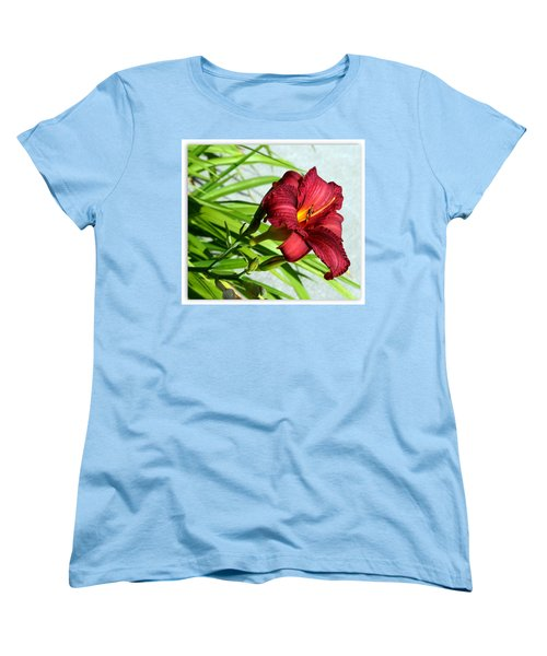 Cranberry Colored Lily Women's T-Shirt (Standard Cut) by Kay Novy