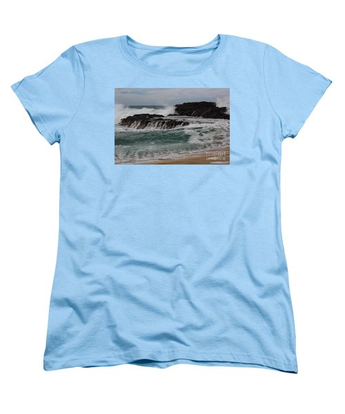 Women's T-Shirt (Standard Cut) featuring the photograph Crashing Surf by Suzanne Luft