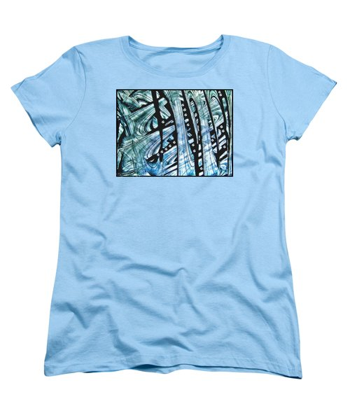 Women's T-Shirt (Standard Cut) featuring the painting Criss Cross Lines Abstract Alcohol Inks by Danielle  Parent