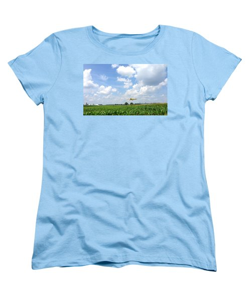 Women's T-Shirt (Standard Cut) featuring the photograph Yellow Crop Duster by Charles Kraus