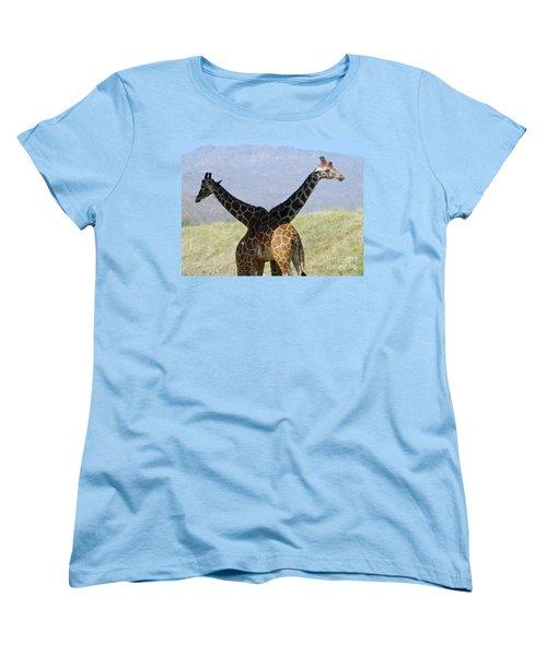 Crossed Giraffes Women's T-Shirt (Standard Cut) by Phyllis Kaltenbach