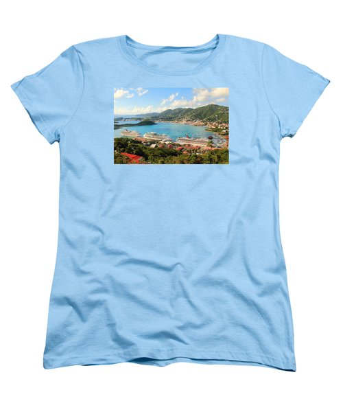 Cruise Ships In St. Thomas Usvi Women's T-Shirt (Standard Cut) by Roupen  Baker