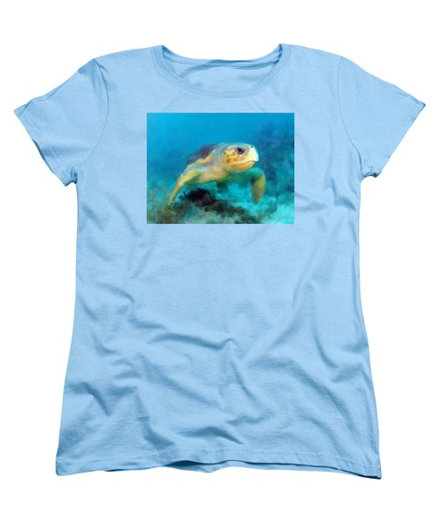 Women's T-Shirt (Standard Cut) featuring the mixed media Curious Sea Turtle by David  Van Hulst