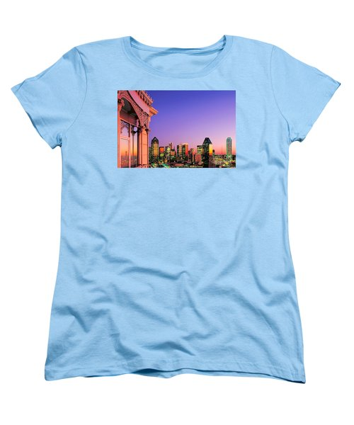 Women's T-Shirt (Standard Cut) featuring the photograph Dallas Skyline At Dusk by David Perry Lawrence