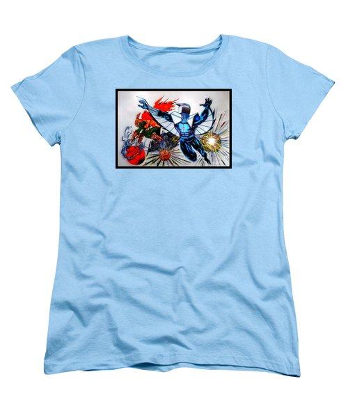 Darkhawk Vs Hobgoblin Focused Women's T-Shirt (Standard Cut) by Justin Moore