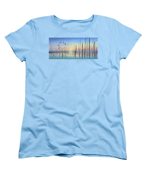 Women's T-Shirt (Standard Cut) featuring the painting Dawns Early Light by Mike Brown