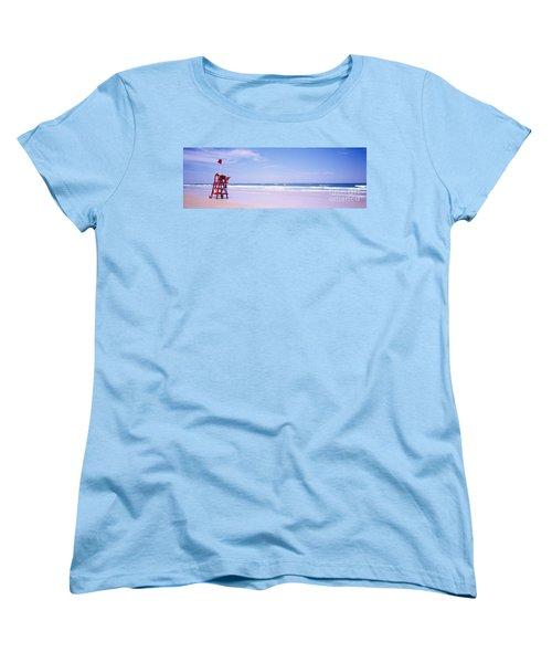 Women's T-Shirt (Standard Cut) featuring the photograph Daytona Beach Fl Life Guard  by Tom Jelen