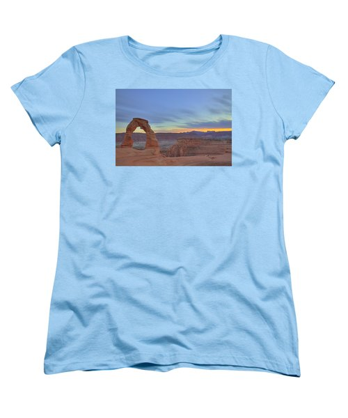 Women's T-Shirt (Standard Cut) featuring the photograph Delicate Arch At Sunset by Alan Vance Ley