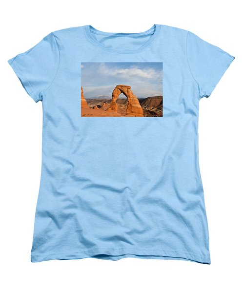 Women's T-Shirt (Standard Cut) featuring the photograph Delicate Arch At Sunset by Jeff Goulden