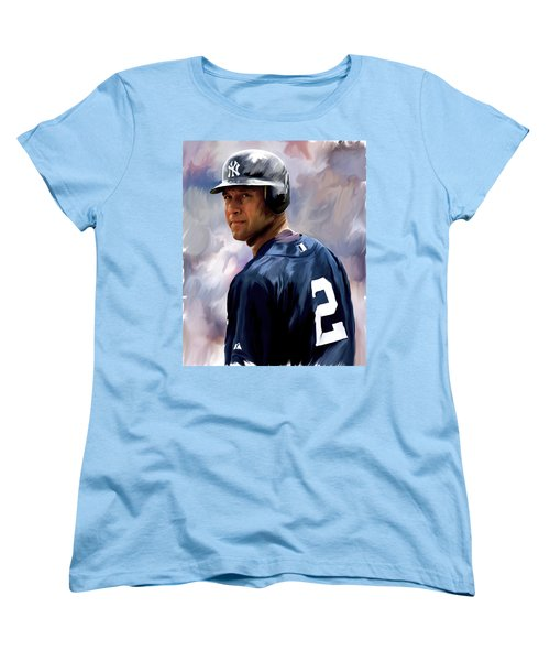 Derek Jeter  Women's T-Shirt (Standard Cut) by Iconic Images Art Gallery David Pucciarelli