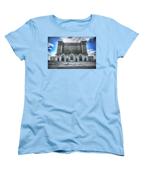 Detroit's Abandoned Michigan Central Train Station Depot Women's T-Shirt (Standard Cut) by Gordon Dean II