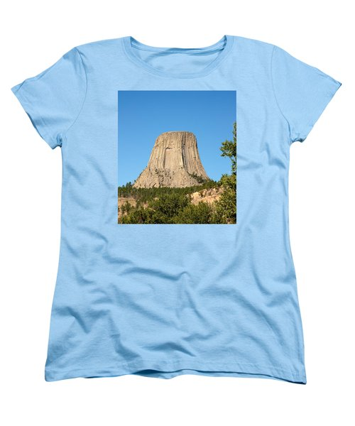 Women's T-Shirt (Standard Cut) featuring the photograph Devils Tower by John M Bailey