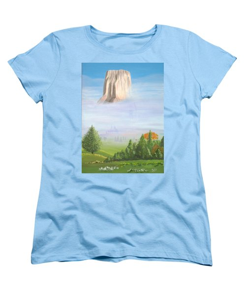 Women's T-Shirt (Standard Cut) featuring the painting Devil's Tower  by Phyllis Kaltenbach