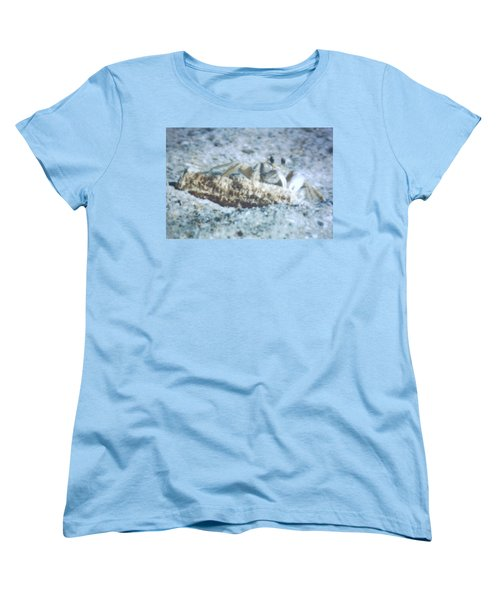 Women's T-Shirt (Standard Cut) featuring the photograph Beach Crab Snacking by Belinda Lee