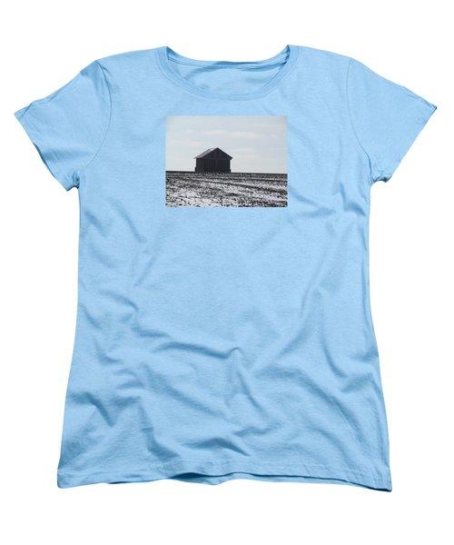 Women's T-Shirt (Standard Cut) featuring the photograph Distant Local Train Depot by Tina M Wenger