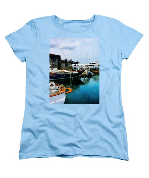 Women's T-Shirt (Standard Cut) featuring the photograph Docked Boats In Newport Ri by Susan Savad