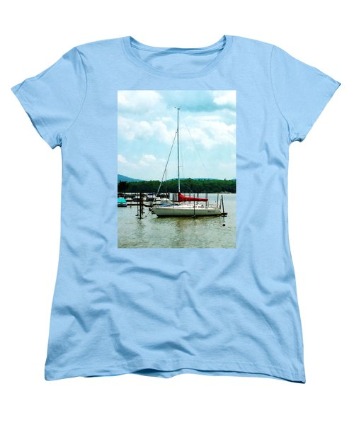 Women's T-Shirt (Standard Cut) featuring the photograph Docked On The Hudson River by Susan Savad