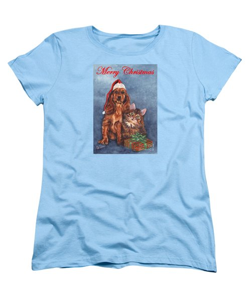 Women's T-Shirt (Standard Cut) featuring the painting Dog And Cat Merry Christmas   by Carol Wisniewski