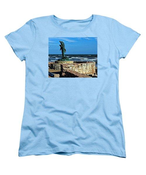 Dolphin Statue Women's T-Shirt (Standard Cut) by Judy Vincent