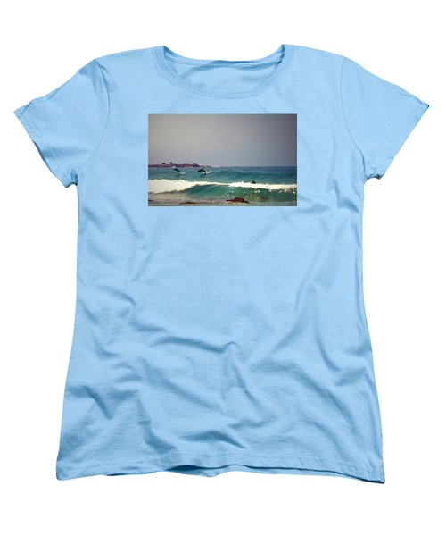 Dolphins Swimming With The Surfers At Asilomar State Beach  Women's T-Shirt (Standard Cut) by Joyce Dickens
