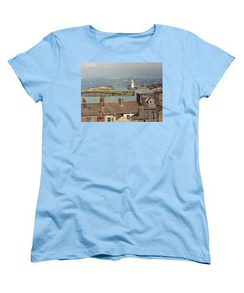 Women's T-Shirt (Standard Cut) featuring the painting Donaghadee Ireland Irish Sea by Brenda Brown