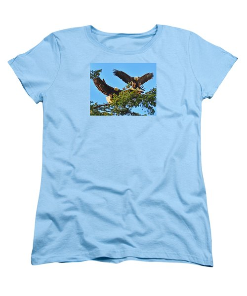 Women's T-Shirt (Standard Cut) featuring the photograph Double Landing by Jack Moskovita