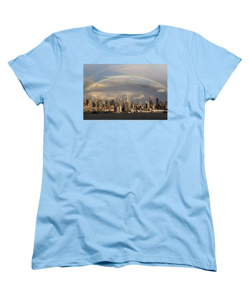 Double Rainbow Over Nyc Women's T-Shirt (Standard Cut) by Susan Candelario