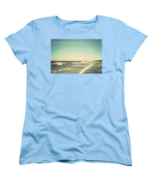 Down The Shore Seaside Heights Vintage Quote Women's T-Shirt (Standard Cut) by Terry DeLuco