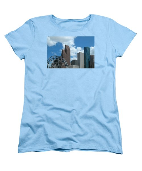 Women's T-Shirt (Standard Cut) featuring the photograph Downtown Houston With Ferris Wheel by Connie Fox