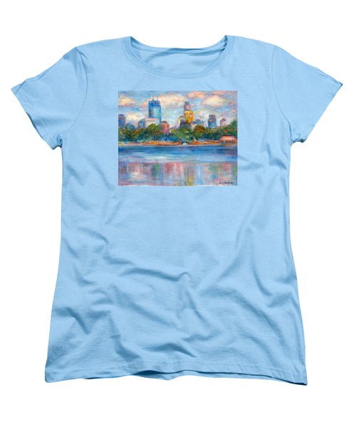 Downtown Minneapolis Skyline From Lake Calhoun II - Or Commission Your City Painting Women's T-Shirt (Standard Cut) by Quin Sweetman