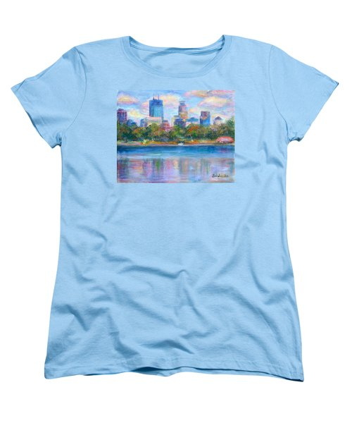 Downtown Minneapolis Skyline From Lake Calhoun Women's T-Shirt (Standard Cut) by Quin Sweetman