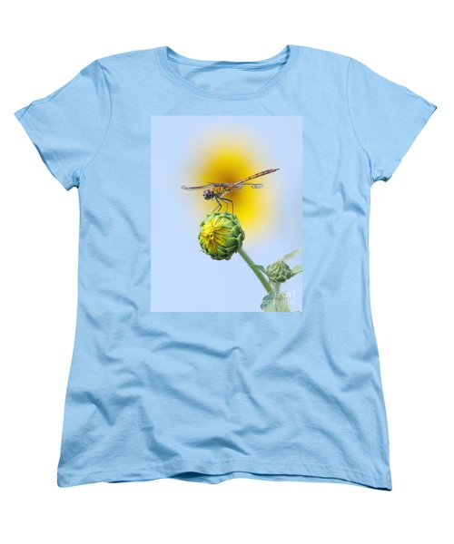 Dragonfly In Sunflowers Women's T-Shirt (Standard Cut) by Robert Frederick