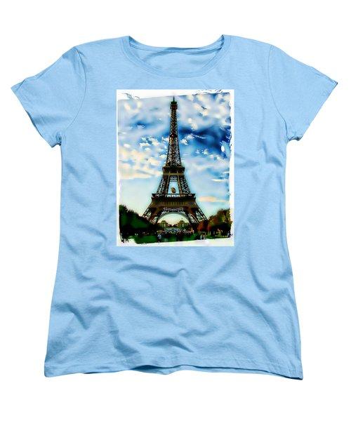 Women's T-Shirt (Standard Cut) featuring the photograph Dreamy Eiffel Tower by Kathy Churchman