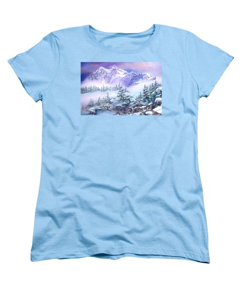 Women's T-Shirt (Standard Cut) featuring the painting Dressed In White Mount Shuksan by Sherry Shipley