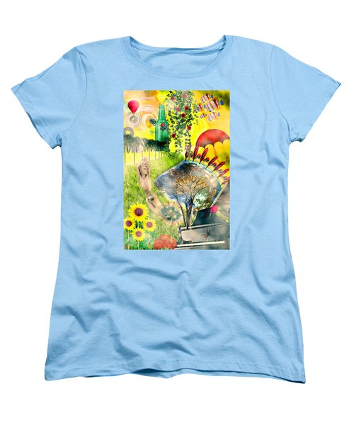 Women's T-Shirt (Standard Cut) featuring the mixed media Drifting Away by Ally  White