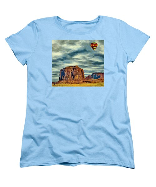 Women's T-Shirt (Standard Cut) featuring the painting Drifting Over Monument Valley by Jeff Kolker