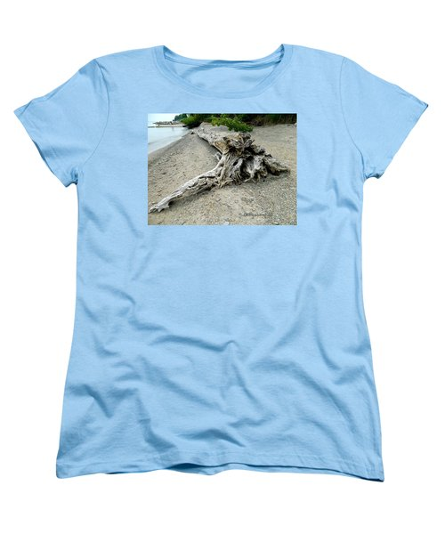 Driftwood At Lake Erie Women's T-Shirt (Standard Cut) by Kathy Barney