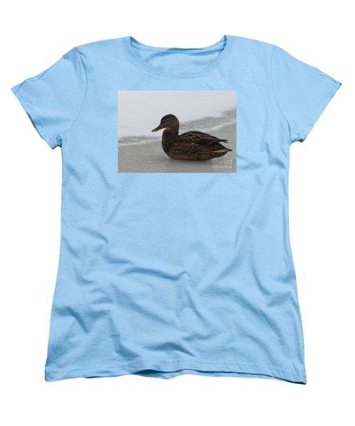Women's T-Shirt (Standard Cut) featuring the photograph Duck On Ice by John Telfer