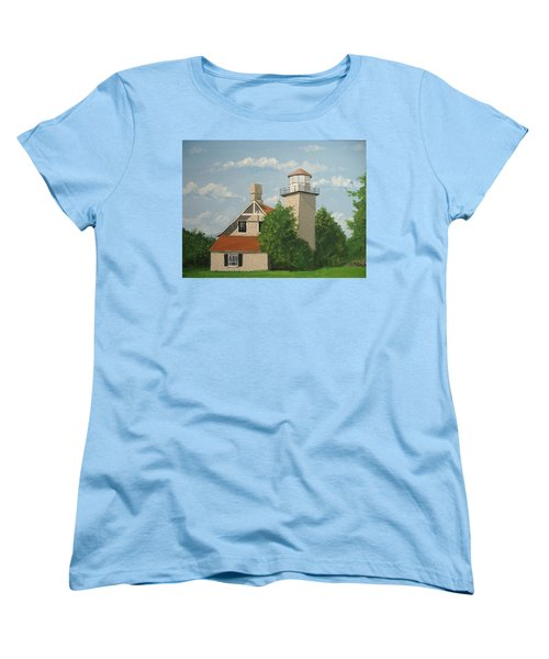 Women's T-Shirt (Standard Cut) featuring the painting Eagle Bluff Lighthouse Wisconsin by Norm Starks
