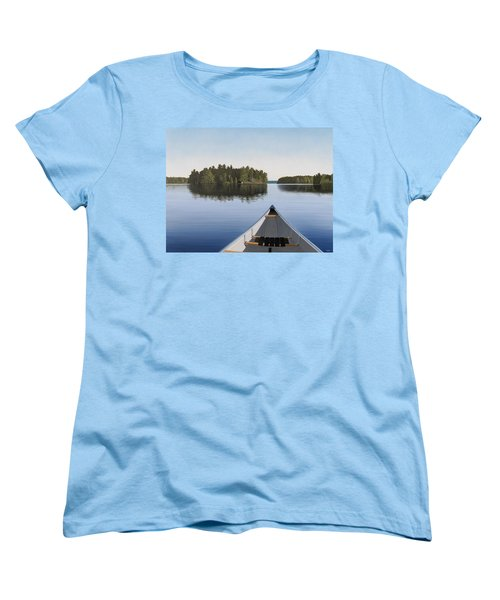 Women's T-Shirt (Standard Cut) featuring the painting Early Evening Paddle  by Kenneth M  Kirsch